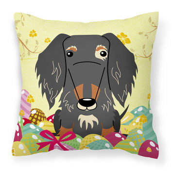 Easter Eggs Wire Haired Dachshund Dapple Fabric Decorative Pillow BB6128PW1414