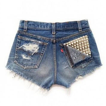 Women's Shredded Vega Vintage Wrangler's Studded Pocket Ripped Front Denim Shorts