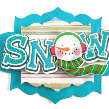 Snowman, Xmas, 3D Scrapbook Embellishment, Paper piecing, gift tags, Scrapbooking Layouts, Cards, Mini Albums, brag book, Paper Crafts