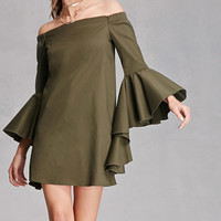Ruffled Off-The-Shoulder Dress