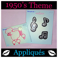 2 Packs of 1950's Theme Simplicity Appliqués, Large Pink Poodle and Music Notes Appliqués / Iron On Patches.