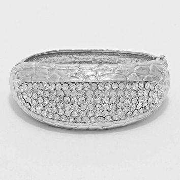Crystal Accented Hinge Bangle Bracelet