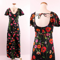 Vintage 60s 70s - Black & Red Poppy Poppies Floral - Flutter Sleeves - Deep V Collar - Open Tie Back - Long Maxi Dress