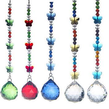 H&D 30mm Crystal Ball Chandelier Prism Butterfly Ornaments Hanging Suncatcher (5pcs Set)