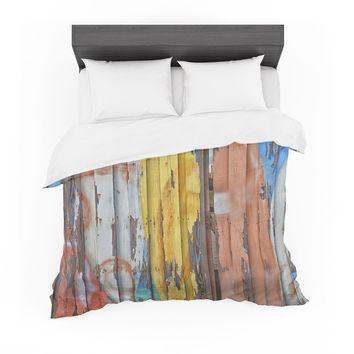 """Susan Sanders """"Surfboard Painted Fence"""" Blue White Photography Featherweight Duvet Cover"""