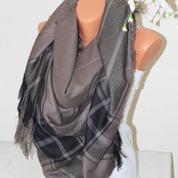 Brown Plaid Scarf-Blanket SCARF-winter scarf-Unisex scarf-Plaid blanket scarf-Mother Days gift-Gift ideas-Gİft for her-Women Accessories