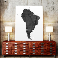 WATERCOLOR South America MAP South America Map Watercolor Painting Watercolor poster Handmade poster Continent poster Brazil Argentina Maps