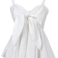 Anna-Kaci S/M Fit White Sweetheart Neckline Bow Trim Peplum Pleat Waist Top