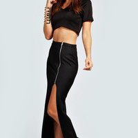 May Side Slit Zip Detail Maxi Skirt