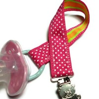 Pacifier Binky Binkee Holder Pink Lollipop Teddy Bear Handmade Ribbon