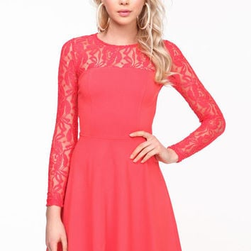 LACE SLEEVES SKATER DRESS