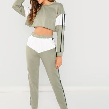 Striped Crop Top & Pants Co-Ord