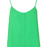 Button Front Cami - Emerald