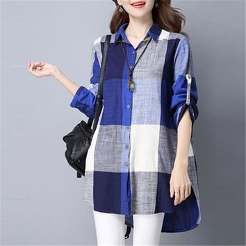 spring vintage colorful big plaid women's cotton linen long blouses  ladies tops shirt plus size  tunic Blusas camisa feminina