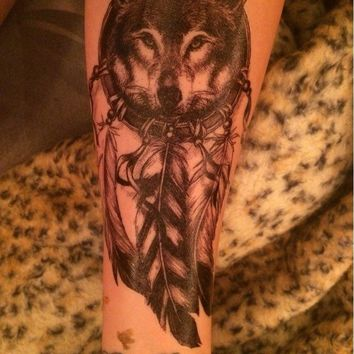 Temporary Tattoo Wolf with Feather Waterproof  Cool Beauty Tattoo Body Art Women