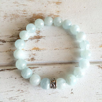 Genuine Aquamarine w/ a Sterling Silver Charm Bracelet ~ Peace & Serenity ~A ++ stones