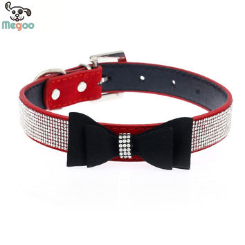 Cute Bow Design Dog Collar Bling Crystal PU Leather Suede Pet Puppy Neck Collar Lead S M L