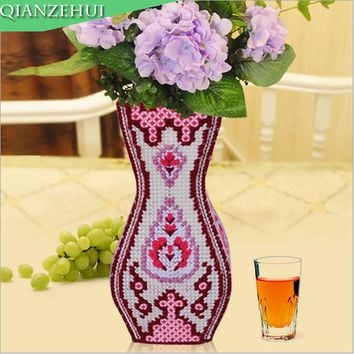Plastic Canvas Cross Stitch kit  Vase decoration  ,n001