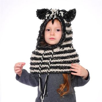 IANLAN Funny Little Zebra Style Lovely Girls Hats Scarves Winter Dual Use Sets Cute Kids Thermal Cap Muffler Children IL00181