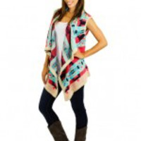 Aqua And Coral Printed Long Vest - C35
