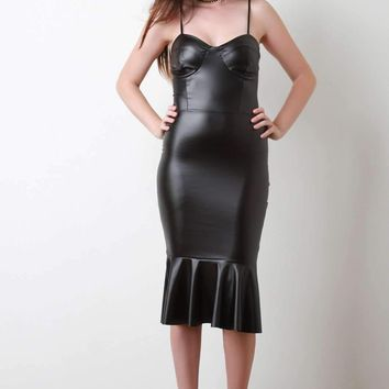 Vegan Leather Bustier Peplum Hem Midi Dress
