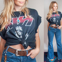 90s Vintage KISS Rock Tee - Large | Faded Black 1996 Gene Simmons Rocker Tshirt | Worn Soft Thin 1990s Grunge Hair Band Concert Tour Shirt