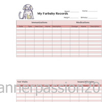 Female Dog Planner Insert Pet Health Log for ring-bound planner, Filofax,kikkiK, A5 size