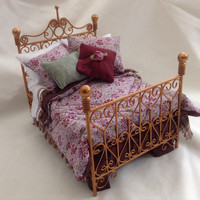 Dolls House Luxury Dressed Antique Gold Wire Double Bed - Liberty