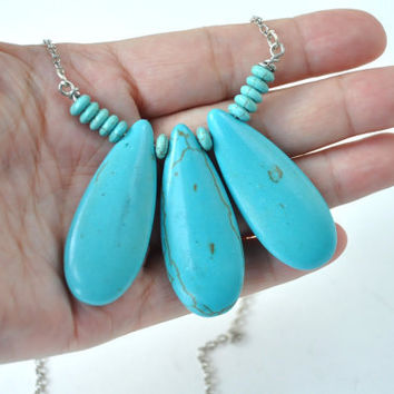 Blue Turquoise Large Slab Chunky Statement Necklace