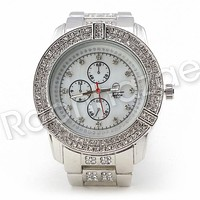 Men Iced Out Bling 14K White Gold Plated Hip Hop Luxury Iced Out Watch F19GS