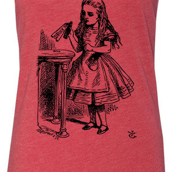Alice in Wonderland - Drink Me (Black) Tri-Blend Racerback Tank-Top