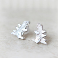Dinosaur earrings T-Rex  / choose your color / gold and silver