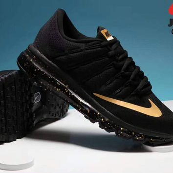 """NIKE"" AirMax Trending Fashion Casual Sports Shoes black/golden soles H-PSXY"