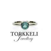 Ready to ship size 6.25, 0.80ct indigolith tourmaline engagement ring, white gold solitaire, unique, blue green tourmaline, blue, bezel ring
