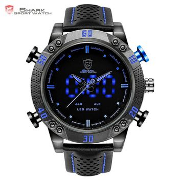 Shark Sport Watch Brand Blue Outdoor Hiking Digital LED Electronic Watches