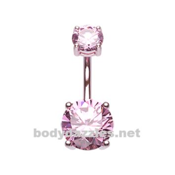 Pink Colorline Gem Prong Sparkle Belly Button Ring Stainless Steel Body Jewelry