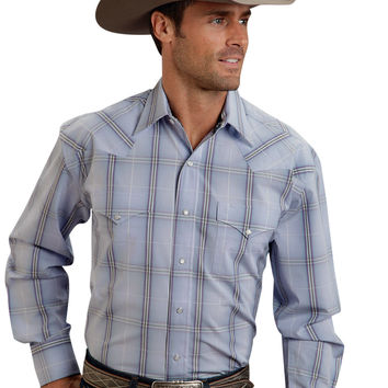 Stetson Mens 9554 Frosted Windowpane Ombre Flat  Spring I Long Sleeve Shirt Snap Closure - 2 Pocket