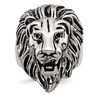 Men's Stainless Steel Polished and Antiqued Lion Ring