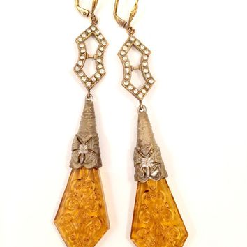 Art Deco Earrings Topaz Yellow Glass Drop Sparkles Vintage Jewelry