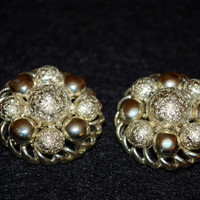 1940's Coro Gold Tone Clip on Earrings / Highly Collectible Name /Coro Script Signature / Gold Balls & Circles