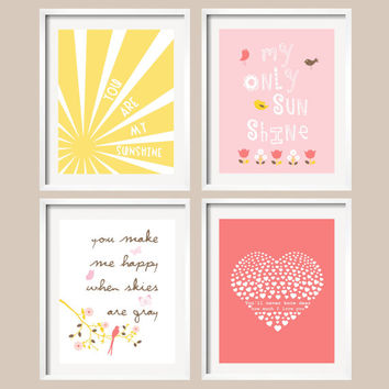 Baby Girl Nursery art prints, Set of 4, Butterly Bird Heart You are my sunshine, Pink and Coral Nursery, Rosette Bedding, Custom Nursery Art
