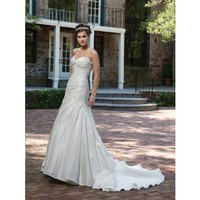 Modern sweetheart empire waist taffeta wedding dress