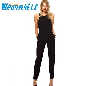 Womail Casual 2017 Solid Color Romper Playsuit O-Neck Sleeveless Cotton Black Rompers Womens Jumpsuit femme Salopette Gift 1pc