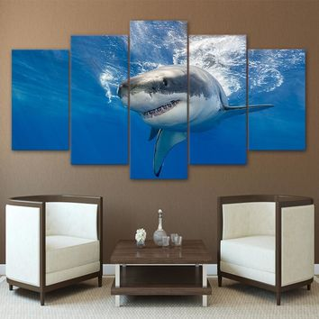5 Panel Canvas Art Abstract Shark Print Blue Ocean Wall Picture Framed UNframed
