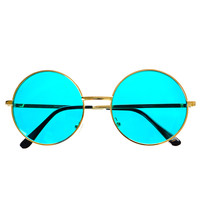Indie Hippie Retro Vintage Style Colorful Metal Round Sunglasses R2510
