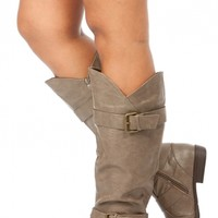 Taupe Faux Leather Knee High Buckle Up Boots @ Cicihot Boots Catalog:women's winter boots,leather thigh high boots,black platform knee high boots,over the knee boots,Go Go boots,cowgirl boots,gladiator boots,womens dress boots,skirt boots.