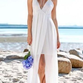 White Patchwork Spaghetti Straps Cross Back Backless V-neck Sleeveless Maxi Dress
