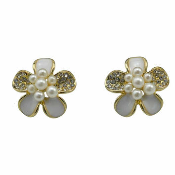 Floral Pearls Earring Diamonds Korean Stylish Accessory [4919877700]
