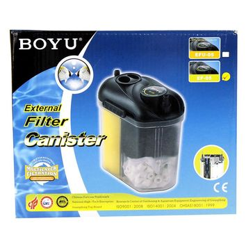 150L/h BOYU EF-05 Compact Aquarium Canister Filter with Filter Media Set for Fish Tank Up to 70 Liters Ceramic Rings Included