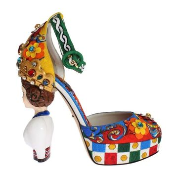 Dolce & Gabbana Multicolor Carretto Brocade Platform Shoes